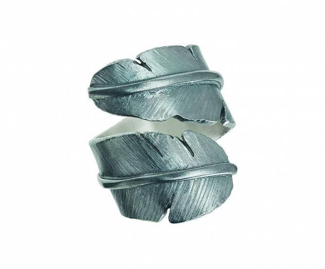 Bilde av Feather ring, oksydert stor